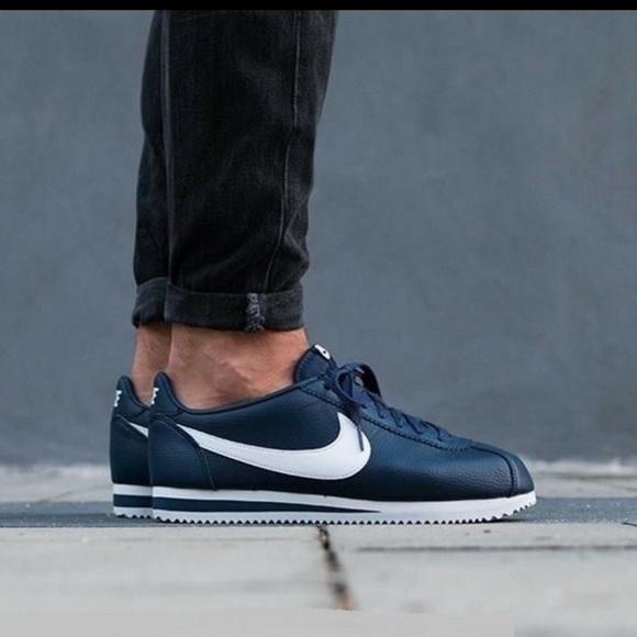blue leather nike cortez